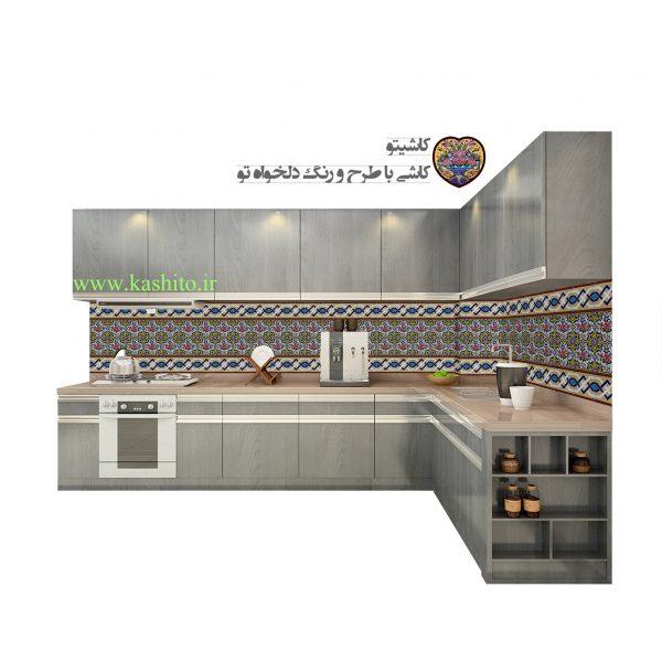 کاشی تزیینی بین کابینت آشپزخانه